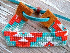 aztec bead loom native american bracelet blue by TabeasTreasures