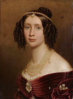 Stieler shows details of Romantic/Biedermeier dress and jewelry in this 1842 portrait of Queen Maria Anna of Bavaria.