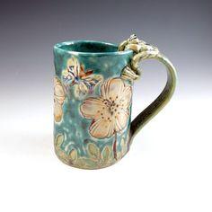 Etsy listing at https://www.etsy.com/listing/232588600/handmade-poppy-mug-peach-flower-large