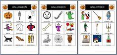 MATERIALES - Bingo de Halloween.    Bingo sobre la fiesta de Halloween.    Contiene tres cartones de 3x3 con todos los pictogramas diferentes.    http://arasaac.org/materiales.php?id_material=788