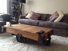 Superior Vintage Authentic LINEBERRY NC Factory Cart Coffee Table. Tulip Wheel.  Unfinished Raw Wood.