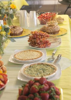 Quiche, bacon skewers, fruit, muffins. baby showers, brunch, girls day.