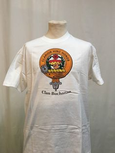 Large size cotton t shirt with crest of clan Buchanan.