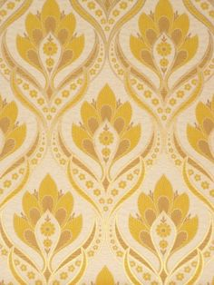Vintage retro baroque wallpaper in yellow and gold color.