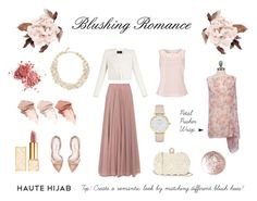 """HH Style Guide: Blushing Romance"" by hautehijab ❤ liked on Polyvore featuring GUESS, Kate Spade, Tory Burch, Lara Khoury, Oscar de la Renta, Too Faced Cosmetics, Essie, BCBGMAXAZRIA and Jacques Vert"