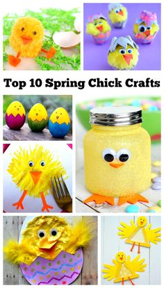 Crafters of all ages will be able to find something that they can make in this cute collection of spring chick crafts. These spring and Easter chicks are perfect for nature tables, gifts, and home decor!