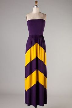 Classy gameday chevron maxi dress! This one is great for LSU! Get one in your school colors!