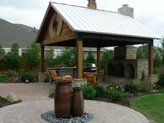 covered patio with metal roof