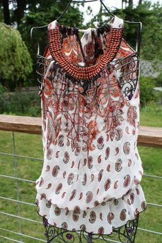 XXI Sheer Beaded Collar Top Paisley Print Size S