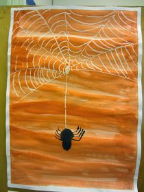 so cute just draw a web with white crayon then paint over it with water colors and add a spider Halloween Art Projects, Halloween Arts And Crafts, School Art Projects, Craft Projects For Kids, Fall Preschool Activities, Art Activities, Halloween Spider, Fall Halloween, Fall Crafts For Toddlers