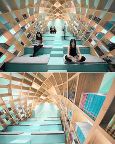 Cocoon-Like Bookshelf Provides a Tranquil Space for Readers to Get Lost in Great Stories #modern #library #design