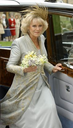 Camilla, Duchess of Cornwall in her wedding dress designed by Robinson Valentine and a  Philip Treacy fascinator arriving for St. George's Chapel, Windsor Castle for the religious blessing on April 9, 2005