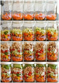 Making Mason Jar Salads - G's lunches UPDATE: did it and loved it!! Everything stayed fresh even though we didn't eat the last jar until 7 days after they were made.