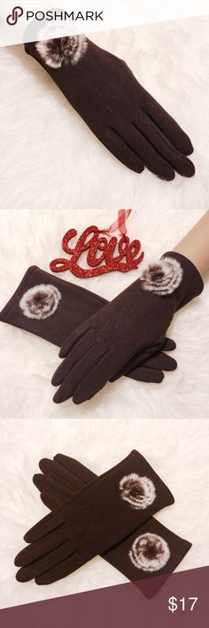 ✨ Chocolate Fur Trim Touch Screen Gloves Style & practicality meets! Now you can look cute while polishing without freezing your fingers off this winter. 100% Acrylic. Machine washable Accessories Gloves & Mittens