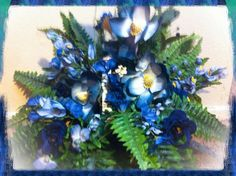 Handmade Artificial Floral Basket Arrangement: Wicker Basket Filled with Artificial Fern Blue and Purple Flowers with White Accents  www.etsy.com/shop/kshandmadeflorals $45.99 by kshandmadeflorals