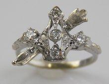 14kt White Gold Filigree Diamond Ring - Crown & Scepter
