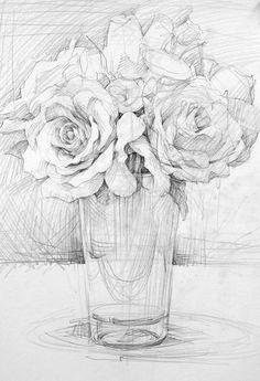 Flower Sketch Pencil, Pencil Drawings Of Flowers, Flower Sketches, Pencil Art Drawings, Realistic Drawings, Art Drawings Sketches, Cool Drawings, Drawing Faces, Botanical Drawings