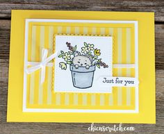 Pretty Kitty Card made with Bella and Friends Stamp Set + Pretty Kitty Stamp Set by Chic n Scratch, Stampin' Up! Pretty Cats, Pretty Kitty, How To Make Butterfly, Mini Gift Bags, Kitty Images, Fun Fold Cards, Animal Cards, Ink Pads, Crafty Projects
