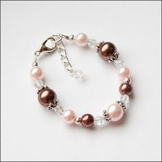 Pink and Brown Glass Pearl and Crystals Bracelet for Child Flower Girl Gift Baby Newborn with Wire & Clasp Growth Chainby la jolie fille boutique, $6.50