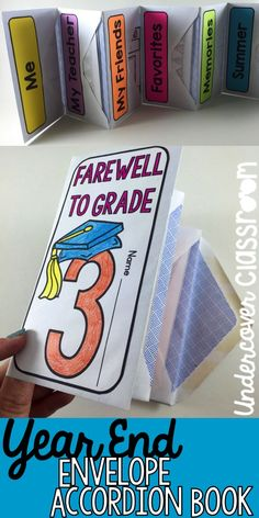 This book for Grades is made out of envelopes and folds like an accordion with pockets. Something different to close out the school year and keep the students engaged. Reflection pages in the pockets will get them thinking and writing! End Of Year Activities, Writing Activities, Classroom Activities, Classroom Organization, 3rd Grade Classroom, School Classroom, School Teacher, Teacher Stuff, 4th Grade Writing