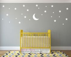 Moon and Stars Wall Decals Wall Decals Nursery Baby Wall