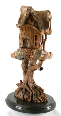 Whimsical Cottonwood Bark Houses by Rick Jensen - HandMadness Simple Wood Carving, Dremel Wood Carving, Chip Carving, Tree Carving, Wood Bark, Wooden Tree, Ceramic Tableware, Tree Sculpture, Wood Crafts