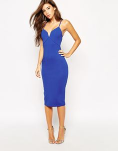 Blue Midi Dress With Strap Back