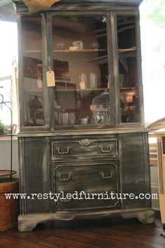 Vintage china hutch painted by ReStyled in Carmel, IN using Graphite and Old White Chalk Paint®. Vintage Home Decor, Vintage Furniture, Painted Furniture, Refinished Furniture, White Chalk Paint, Annie Sloan Chalk Paint, Dining Room Hutch, Devine Design, Best Decor