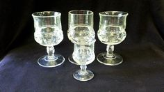 Vintage US-Tiffin King's Crown Thumbprint Stemmed Goblets & Cordial Set of 4, 1950-60 Vintage Glass Collectible Thumbprint by ShabbyCandleAntiques on Etsy