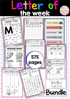 This bundle contains 575 pages of variety activities, games and worksheets of the alphabet. It will help to teach your students to recognize, read, write and solve the beginning sound of that letter. Phonics | Alphabet | Letter of the Week | Alphabet Worksheets | Alphabet Centers | Alphabet Printables | Alphabet Activities | Kindergarten