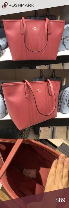 NWT Coach F58846 City Zip Tote Rouge Crossgrain Leather Handbag $298 Retail