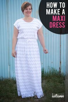 How to make an easy maxi dress. Simple sewing tutorial. #sewing #maxidress
