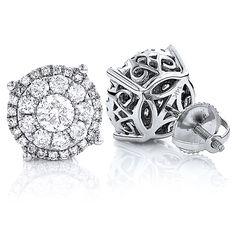 Unisex Round Diamond Cluster Earrings 14K Gold 2ct Halo Studs