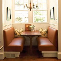 Wonderful eating area for a small kitchen/dining area......leather benches which make you feel cozy....
