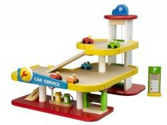 Wooden toy ideas for boys #Hape #WoodenGarage #WoodenCars #WoodenToysBoys