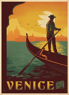 Venice Italy vintage travel poster designed by Anderson Design Group. Man on a gondola.