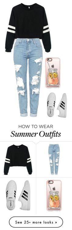 """""""Cute, casual, and comfortable outfit for every day."""" by madelinepiovesan on Polyvore featuring Topshop, adidas and Casetify"""
