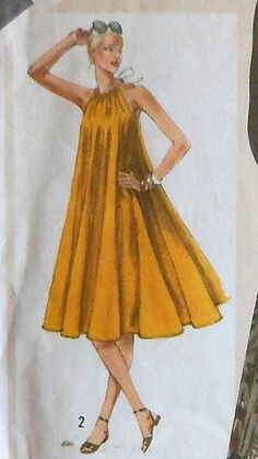 Vintage Tent Shaped Sleeveless Dress Sewing Pattern