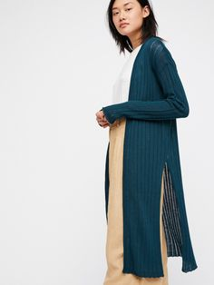 Teal Ribby Rib Cardi at Free People Clothing Boutique