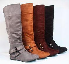 Women's Cute Slouchy Low Heel Mid Calf Knee High Flat Heel Boot ...
