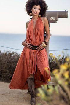 Terracota Long Dress Brown Dress Boho Chic Dress by analiogi