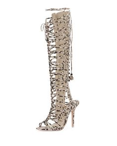 Love these shoes by SOPHIA WEBSTER Clementine Knee-High Gladiator Sandal, Camo/Nude - $1075