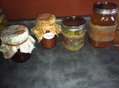 Decorated canning jars that I am putting together for a gift basket