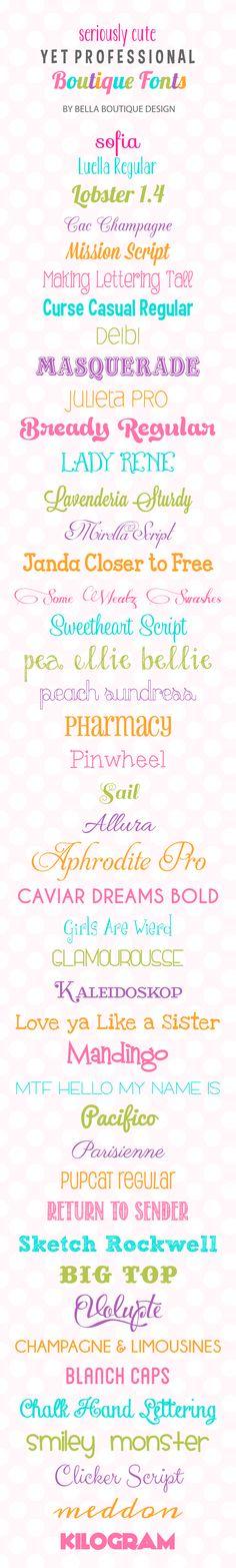 Favorite fonts from Bella Boutique Design (Dead End Link, but can Google font names)