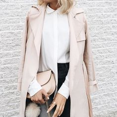 Trench coat & blouse details  @clubmonaco