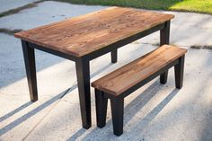 Farmhouse Table. 5' Solid Wood Farmhouse Kitchen Table with English Chestnut top and Black Tapered Legs. Matching Farmhouse Bench.
