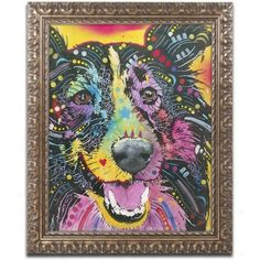 Trademark Fine Art Smiling Collie Canvas Art by Dean Russo, Gold Ornate Frame, Size: 16 x 20