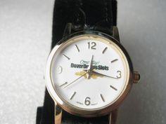 "Dover Downs Wristwatch, by Genevex, NIB, Goldtone, Ladies, Black Leather Band 7"" #Genevex #Memorabia"