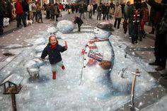 Julian Beever's Christmas in 3D Chalk Art