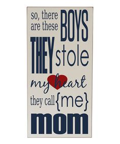 Cream & Navy 'Boys Stole My Heart' Wall Sign